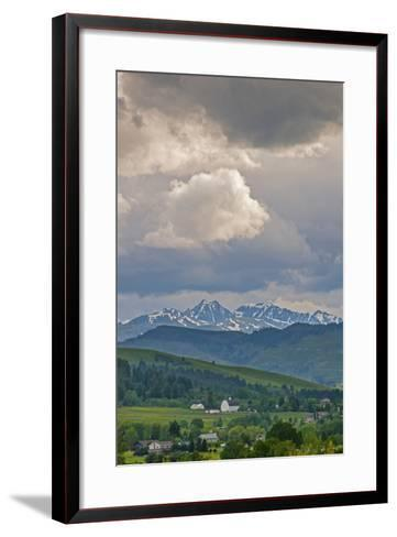 A Summer Thunderstorm Builds over the Spanish Peaks in the Southern Gallatin Valley, Montana-Gordon Wiltsie-Framed Art Print