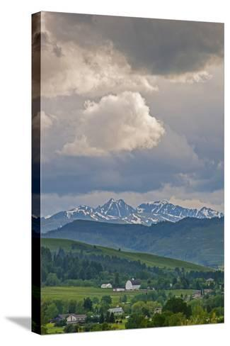 A Summer Thunderstorm Builds over the Spanish Peaks in the Southern Gallatin Valley, Montana-Gordon Wiltsie-Stretched Canvas Print