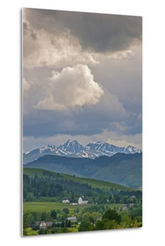 A Summer Thunderstorm Builds over the Spanish Peaks in the Southern Gallatin Valley, Montana-Gordon Wiltsie-Metal Print