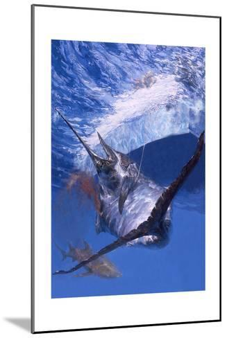 Gaffed: Makaira Nigricans, a Defeated Blue Marlin Is Brought Alongside a Sport Fishing Boat-Stanley Meltzoff-Mounted Giclee Print