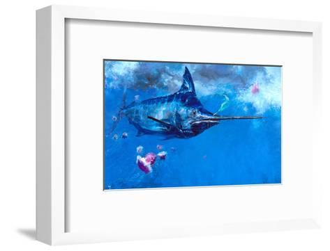 Wet Fly and Blue Marlin, Bill Wrapped with Cyanea Jellies: Giant Blue Marlin and a Salt Water Fly-Stanley Meltzoff-Framed Art Print