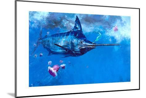 Wet Fly and Blue Marlin, Bill Wrapped with Cyanea Jellies: Giant Blue Marlin and a Salt Water Fly-Stanley Meltzoff-Mounted Giclee Print