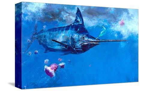 Wet Fly and Blue Marlin, Bill Wrapped with Cyanea Jellies: Giant Blue Marlin and a Salt Water Fly-Stanley Meltzoff-Stretched Canvas Print