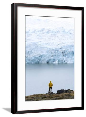 A Hiker Dwarfed by the Fracture Zone of a Glacier on the Greenland Ice Sheet-Jason Edwards-Framed Art Print