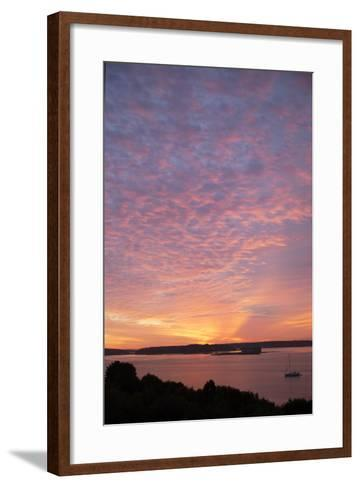 The Sun Rise over Fort Gorges and Casco Bay-Robbie George-Framed Art Print