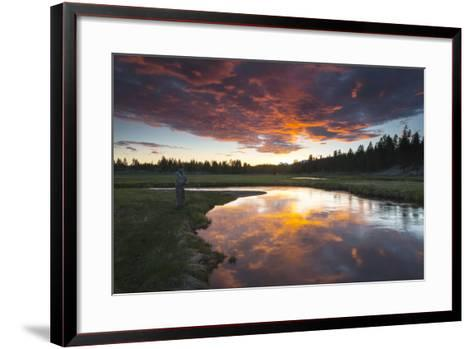 A Fisherman Tries His Luck under a Radiant Sky at Dusk-Robbie George-Framed Art Print