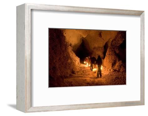 Visitors on the Left Hand Tunnel Tour in Carlsbad Caverns National Park, New Mexico-Phil Schermeister-Framed Art Print
