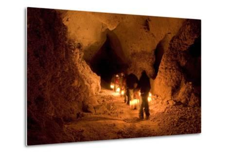 Visitors on the Left Hand Tunnel Tour in Carlsbad Caverns National Park, New Mexico-Phil Schermeister-Metal Print