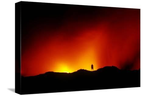 Standing on the Crust of an Active Lava Flow, Watching Lava Flow into the Pacific, Kilauea Volcano-Cagan Sekercioglu-Stretched Canvas Print