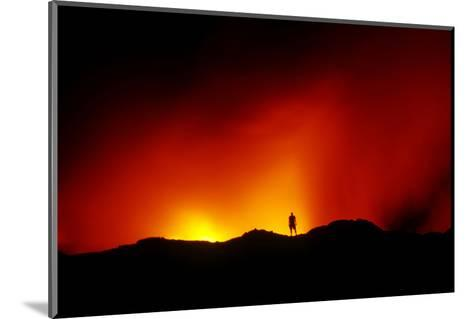 Standing on the Crust of an Active Lava Flow, Watching Lava Flow into the Pacific, Kilauea Volcano-Cagan Sekercioglu-Mounted Photographic Print