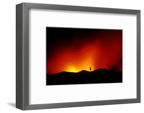 Standing on the Crust of an Active Lava Flow, Watching Lava Flow into the Pacific, Kilauea Volcano-Cagan Sekercioglu-Framed Art Print