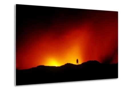 Standing on the Crust of an Active Lava Flow, Watching Lava Flow into the Pacific, Kilauea Volcano-Cagan Sekercioglu-Metal Print