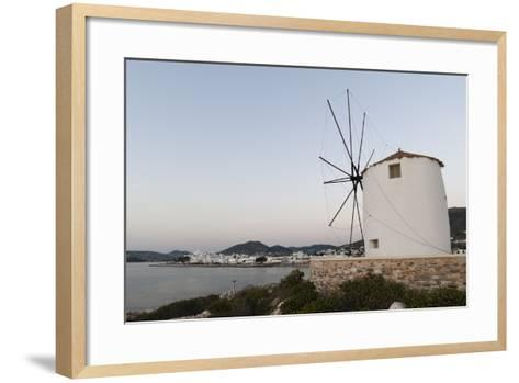 A Windmill on the Coast at Twilight, in Parikia-Sergio Pitamitz-Framed Art Print