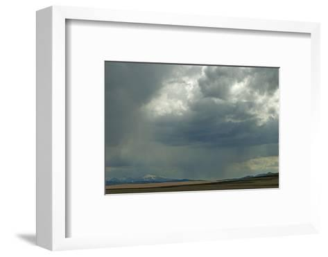 Rain Squalls Hover over Lonely Prairies, Ranchlands and Mountains North of Three Forks, Montana-Gordon Wiltsie-Framed Art Print