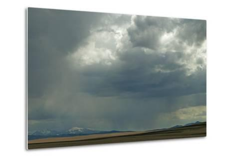 Rain Squalls Hover over Lonely Prairies, Ranchlands and Mountains North of Three Forks, Montana-Gordon Wiltsie-Metal Print