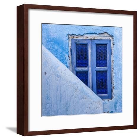 A Blue Painted Window in Le Jardin Des Biehn, a Riad or Small Hotel in the Medina of Fez-Richard Nowitz-Framed Art Print