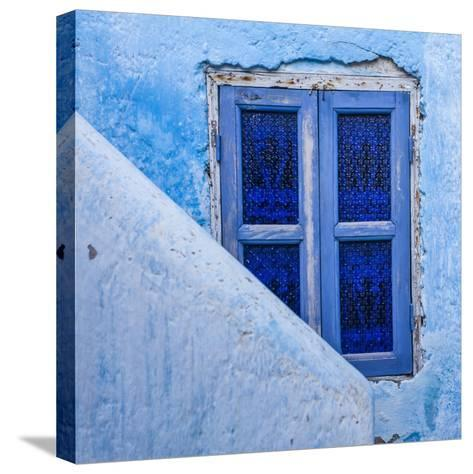 A Blue Painted Window in Le Jardin Des Biehn, a Riad or Small Hotel in the Medina of Fez-Richard Nowitz-Stretched Canvas Print