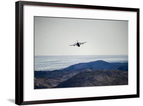 A Military Hercules Plane Flying Low over the Greenland Ice Sheet-Jason Edwards-Framed Art Print