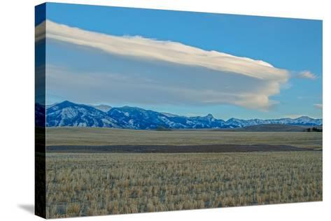 Lenticular Clouds Hover over the Bridger Mountains and Harvested Wheat Fields, Montana-Gordon Wiltsie-Stretched Canvas Print