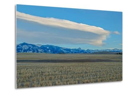 Lenticular Clouds Hover over the Bridger Mountains and Harvested Wheat Fields, Montana-Gordon Wiltsie-Metal Print