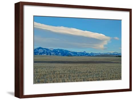 Lenticular Clouds Hover over the Bridger Mountains and Harvested Wheat Fields, Montana-Gordon Wiltsie-Framed Art Print