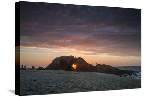 The Setting Sun Viewed Through the Hole at Pedra Furada, Jericoacoara, Brazil-Alex Saberi-Stretched Canvas Print