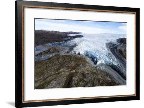 A River of Meltwater Flows from an Enormous Glacier into a Floodplain-Jason Edwards-Framed Art Print
