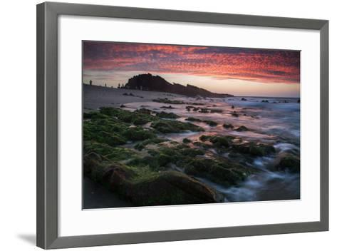 Sunset over Pedra Furada Rock Formation in Jericoacoara, Brazil-Alex Saberi-Framed Art Print