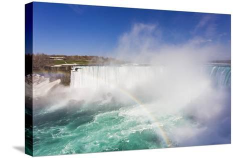 A Bird Flying by a Double Rainbow at Horseshoe Falls-Mike Theiss-Stretched Canvas Print