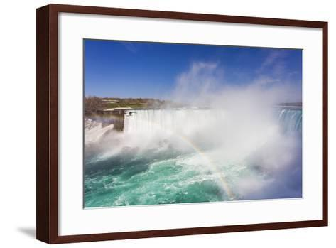 A Bird Flying by a Double Rainbow at Horseshoe Falls-Mike Theiss-Framed Art Print
