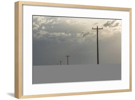 Power Lines Cross the Sagebrush Flats on the Eastern Navajo Nation Near Shiprock, New Mexico-Bill Hatcher-Framed Art Print