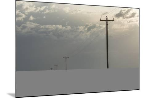 Power Lines Cross the Sagebrush Flats on the Eastern Navajo Nation Near Shiprock, New Mexico-Bill Hatcher-Mounted Photographic Print