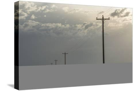 Power Lines Cross the Sagebrush Flats on the Eastern Navajo Nation Near Shiprock, New Mexico-Bill Hatcher-Stretched Canvas Print