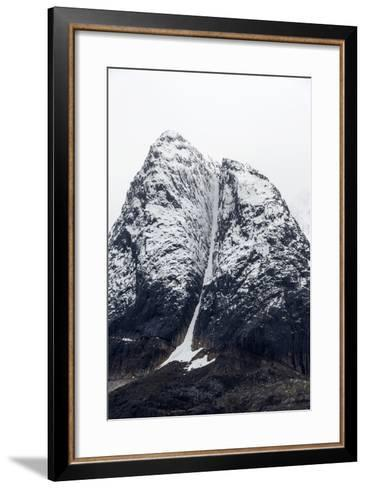 A Rugged Cone-Shaped Mountain Summit Dusted in Snow and Ice-Jason Edwards-Framed Art Print