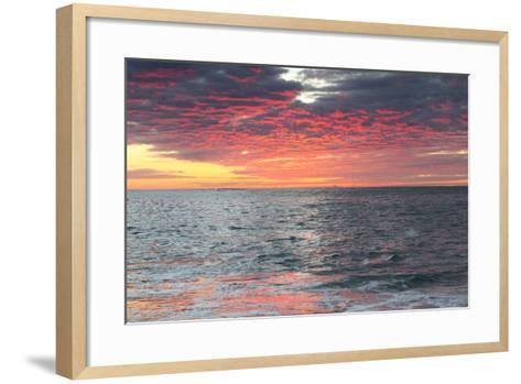 Clouds and Water Reflect Vivid Pinks from Early Morning Light-Robbie George-Framed Art Print