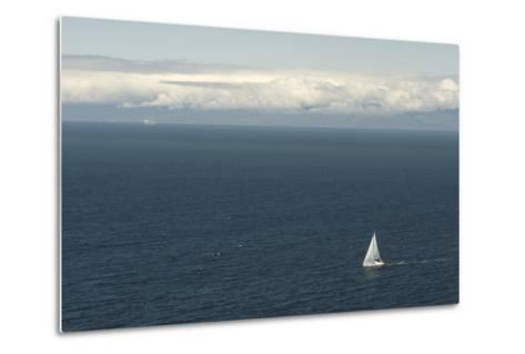 A Sailboat in Waters Off Anacapa Island in Channel Islands National Park-Phil Schermeister-Metal Print