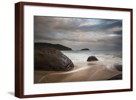A Long Exposure of Praia Prumirim at Sunset in Ubatuba, Brazil-Alex Saberi-Framed Art Print