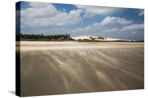 Sand Blowing over a Desert-Like Beach in Jericoacoara, Brazil-Alex Saberi-Stretched Canvas Print