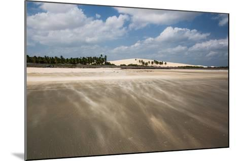 Sand Blowing over a Desert-Like Beach in Jericoacoara, Brazil-Alex Saberi-Mounted Photographic Print