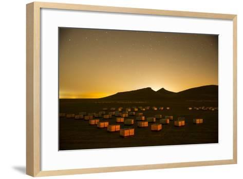 Bee Hives That Have Just Been Moved as Part of a Migratory Beekeeping Operation-Anand Varma-Framed Art Print