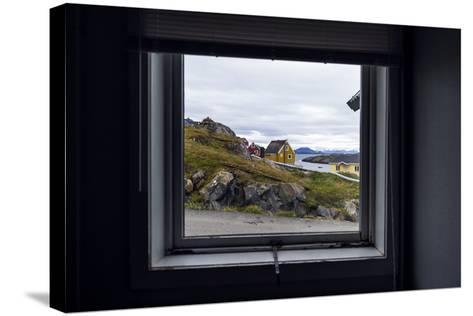 The View of Cottages in an Arctic Village Through a Weather-Sealed Window-Jason Edwards-Stretched Canvas Print