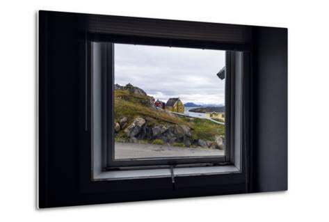 The View of Cottages in an Arctic Village Through a Weather-Sealed Window-Jason Edwards-Metal Print