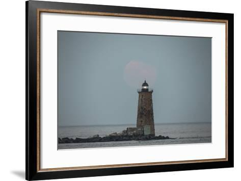 Whaleback Lighthouse Stands Out in the Night as the Supermoon Fades into the Evening-Robbie George-Framed Art Print