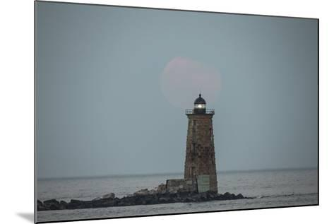 Whaleback Lighthouse Stands Out in the Night as the Supermoon Fades into the Evening-Robbie George-Mounted Photographic Print