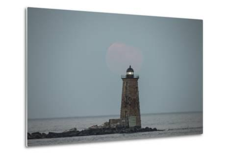 Whaleback Lighthouse Stands Out in the Night as the Supermoon Fades into the Evening-Robbie George-Metal Print