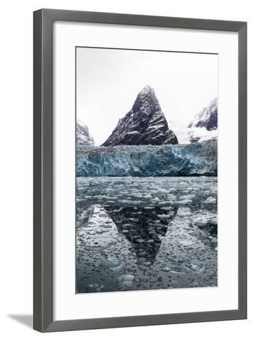 The Sheer Fracture Zone of a Glacier Sandwiched Between Alpine Peaks in a Fjord-Jason Edwards-Framed Art Print