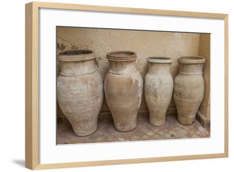 Antiques Clay Water Pots Decorate the Entrance to Le Jardin Des Biehn-Richard Nowitz-Framed Art Print