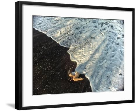 A Dancer in the Surf on a Remote Beach at Tortuguero National Park-Kike Calvo-Framed Art Print