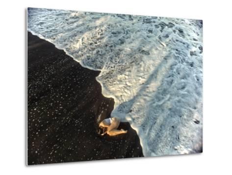 A Dancer in the Surf on a Remote Beach at Tortuguero National Park-Kike Calvo-Metal Print