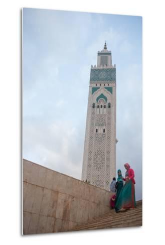 Women in Colorful Djelabas and Head Scarves Walk Down Stairs in Front of Hassan Ii Mosque, Morocco-Erika Skogg-Metal Print